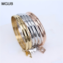 MGUB 3 color 7 UNIDS pulsera popular de la joyería de acero inoxidable 316L 7 pequeños accesorios de moda femenina partido suave regalo H366