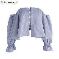 M H Artemis Crop Plaid Shirt Cotton Sexy Off Shoulder Women Shirt Puff Sleeve Ruffle Summer