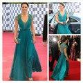 Turquesa elegante ver através Kate Middleton vestidos de manga curta V Neck A linha Chiffon celebridade vestidos vestido tapete vermelho