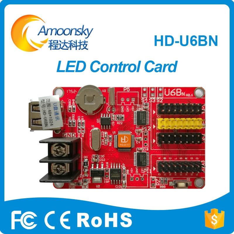 HD-U6B Hd-u6bn USB-Disk Huidu LED Control Card P10 Single Dual Color Led Unit Module Controller With 3 HUB12 Huidu Controller