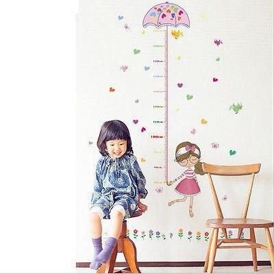 גובה מדד מטריית ילדה חמוד תינוק דבק טפט ויניל קיר מדבקות קיר מדבקות לילדים משתלה דקור חדר ילדי ילדות