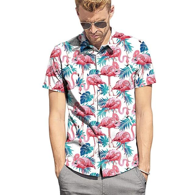 ผู้ชาย Flamingo พิมพ์ฤดูร้อนแขนสั้นเสื้อ 2019 ใหม่สไตล์ฮาวาย Beach Casual Slim Fit สบายเสื้อ