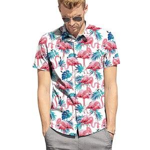 Image 1 - Mens Flamingo Printing Summer Short Sleeve Shirts 2019 New Hawaii Style Beach Casual Slim Fit Breathable Comfortable Tops