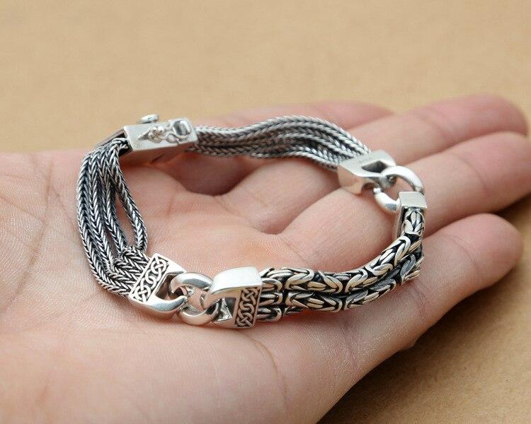 925 Браслеты стерлингового серебра для Для мужчин Для женщин Винтаж S925 твердый тайский серебряный цепи браслеты, бижутерия, подарок на день р... - 6