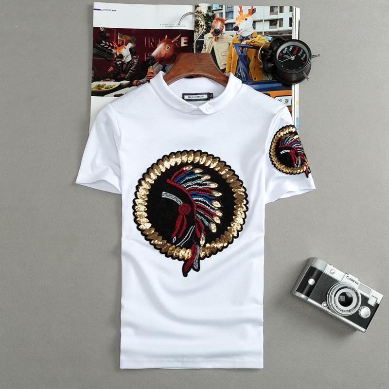 2018 Fashion Brand New men's   T  -  shirt   sequined Indian Print   t     shirt   slim fit Short Sleeve stand collar Tops Tees male tshirt