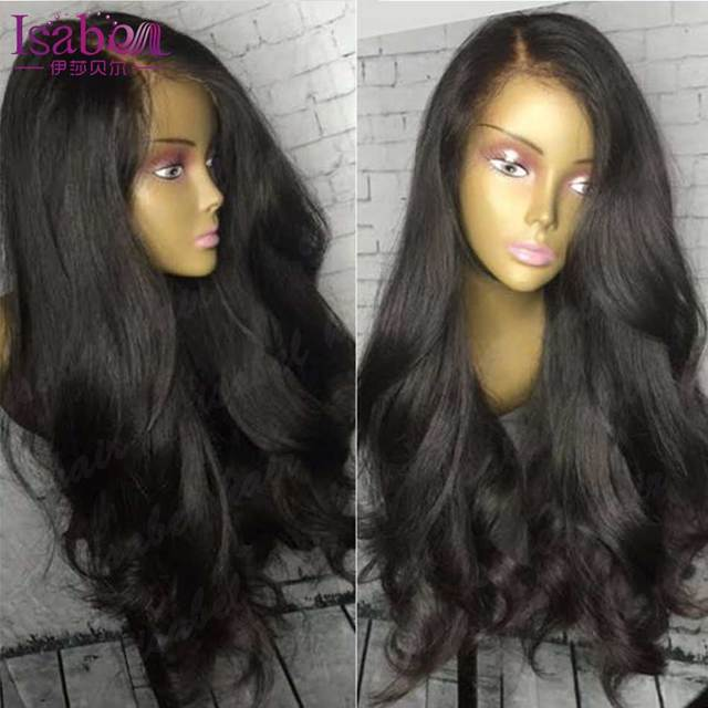 Cheia Do Laço Perucas de Cabelo Humano Para As Mulheres Negras Sem Cola Cheia Do Laço perucas Onda Do Corpo Brasileiro Parte Dianteira Do Laço Perucas de Cabelo Humano Lace Front perucas