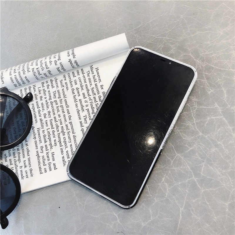 Planeta HYSOWENDLY Simples Preto Branco Caixa Do Telefone Para o iphone X XR XS max 8 7 6 6 s Mais Brilhante plain Magro Rígido PC Back Fundas Coque