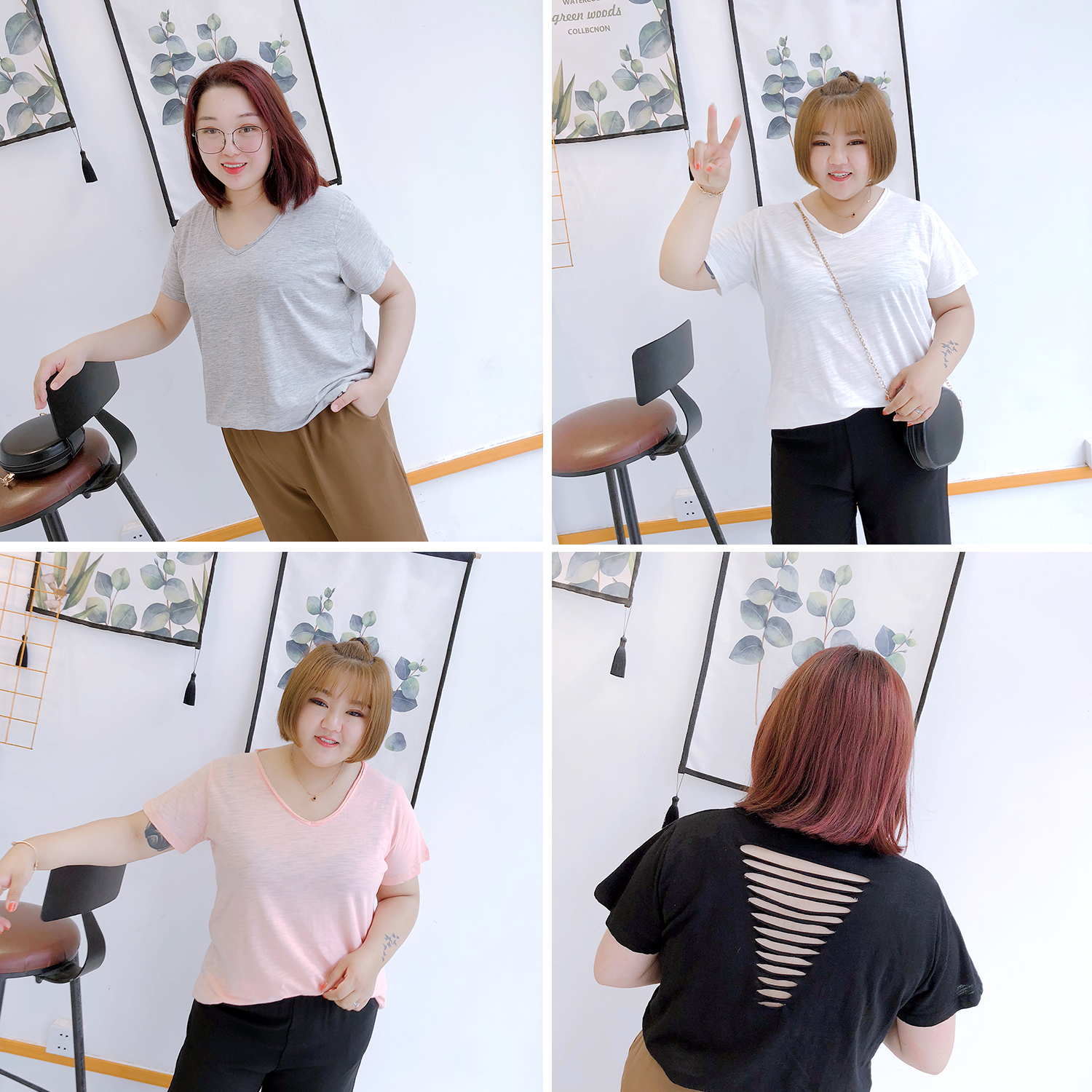 2018 Summer Wear, Slubby Cotton, Loose And Multicolored Stripe, Heavy Clothes, Mm Bottoming Shirt, Short Sleeves, V T-shirt, Ext