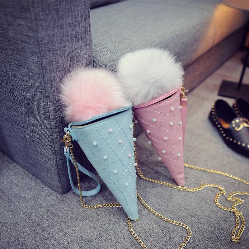 패션 귀여운 아이스크림 콘 원 숙 녀 손 가방 캔디 색 여성 가방 미니 동전 가방 소녀 테이퍼 크로스 바디 가방 전화