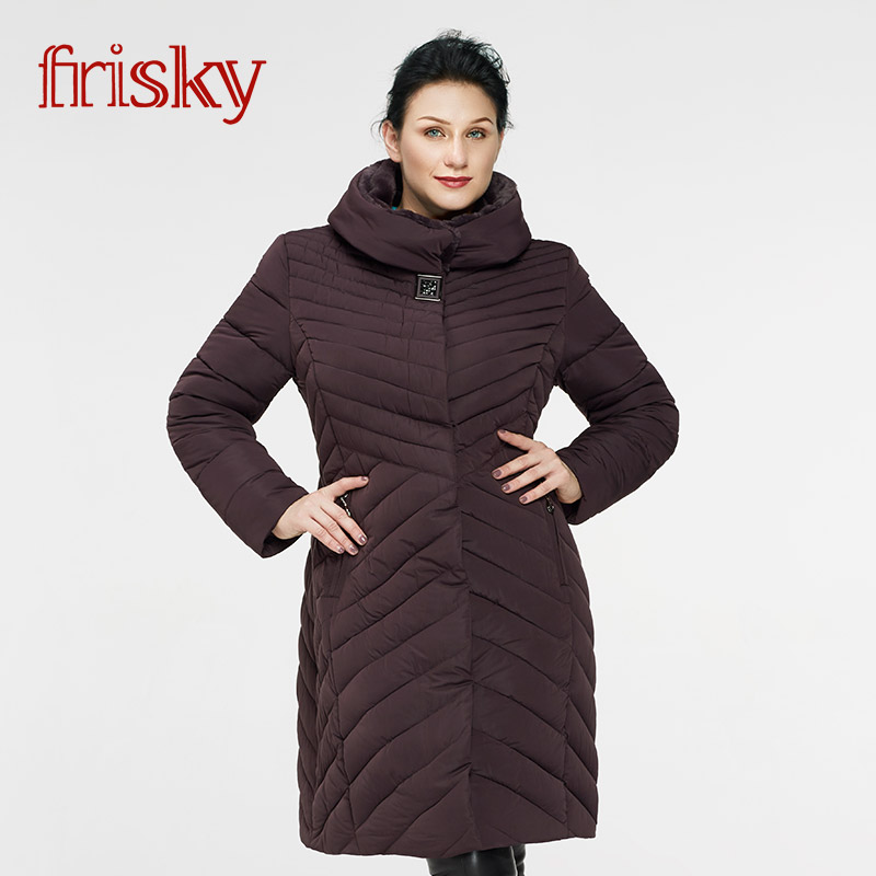 2017 Frisky Womens Winter Coat Plus Size Jackets Thick Warm Wind Long Down Jacket Female Fashion Casual Parkas Coat FR6690