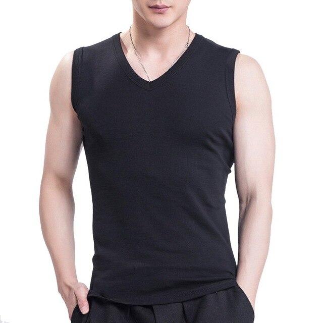 47953f717a990f 2018 Men Sport Vest Cotton Tank Top Summer V-Neck Slim Sleeveless  Basketball Running Shirts