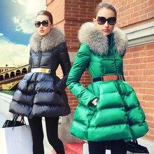 Hiver Chaud femmes down parka manteau veste De Mode 2016 Mince Col De Fourrure Épaississement Moyen Long Survêtement Femelle Manteau