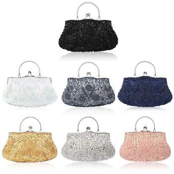 7a9bf63d13a Bolso de noche de estilo Vintage con lentejuelas hecho a mano con cuentas  bordadas para fiesta bolso de mano bolsas de mensajero para mujer Crossbady