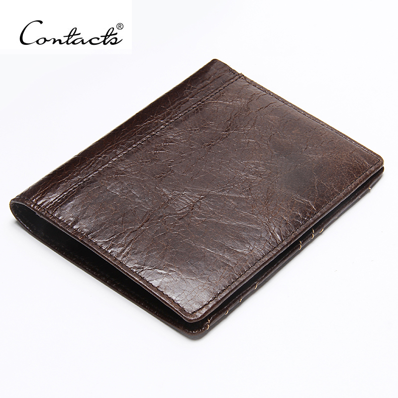 CONTACT'S Genuine Leather Men Wallet Thin Design Short Wallet Casual Purse With Card Holder Coin Purses And Photo Holder Wallets
