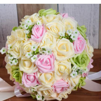 Pe Handmade pe Rose Bridal Flowers Brooch Bouquet For Brides Artificial Wedding Bouquets rose