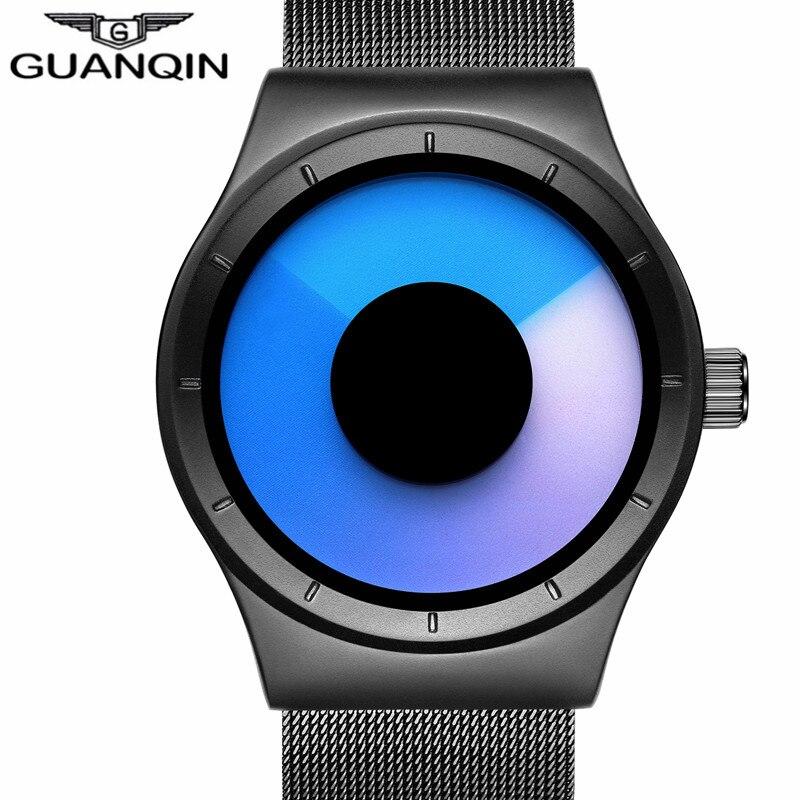 Prix pour Guanqin nouveau haut de luxe montre hommes de marque hommes montres ultra mince en acier inoxydable maille bande quartz montre de mode casual montre-bracelet