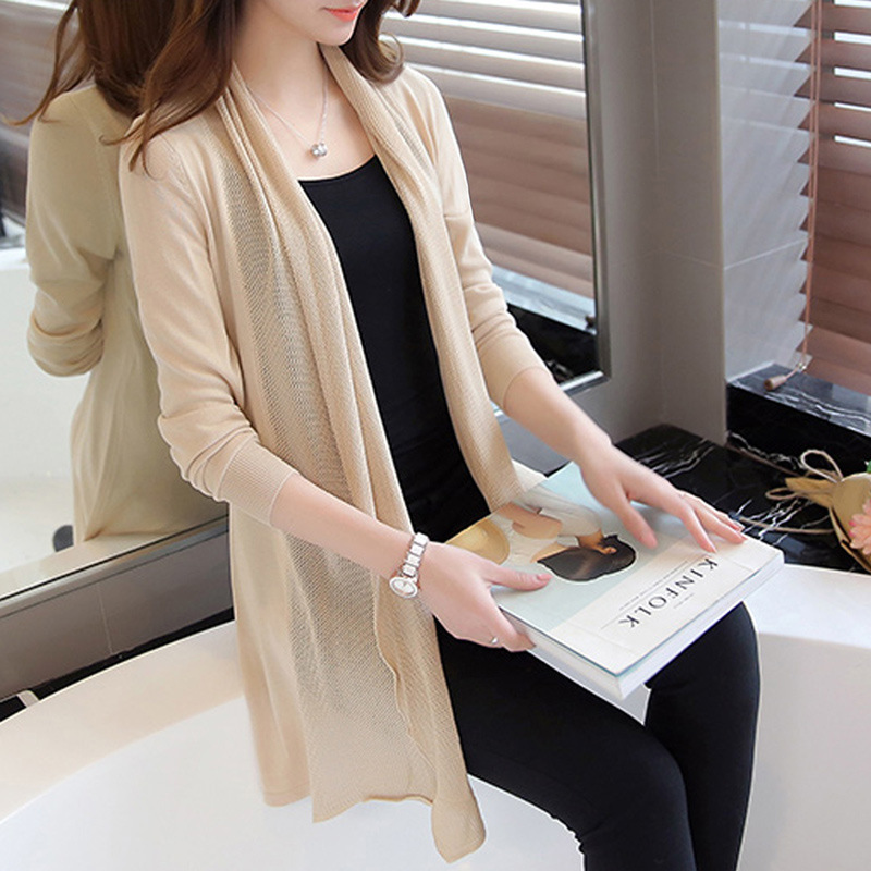 spring in the New Womens 2018 loose long sweater cardigan sweater shawl female thin coat for summer air conditioning
