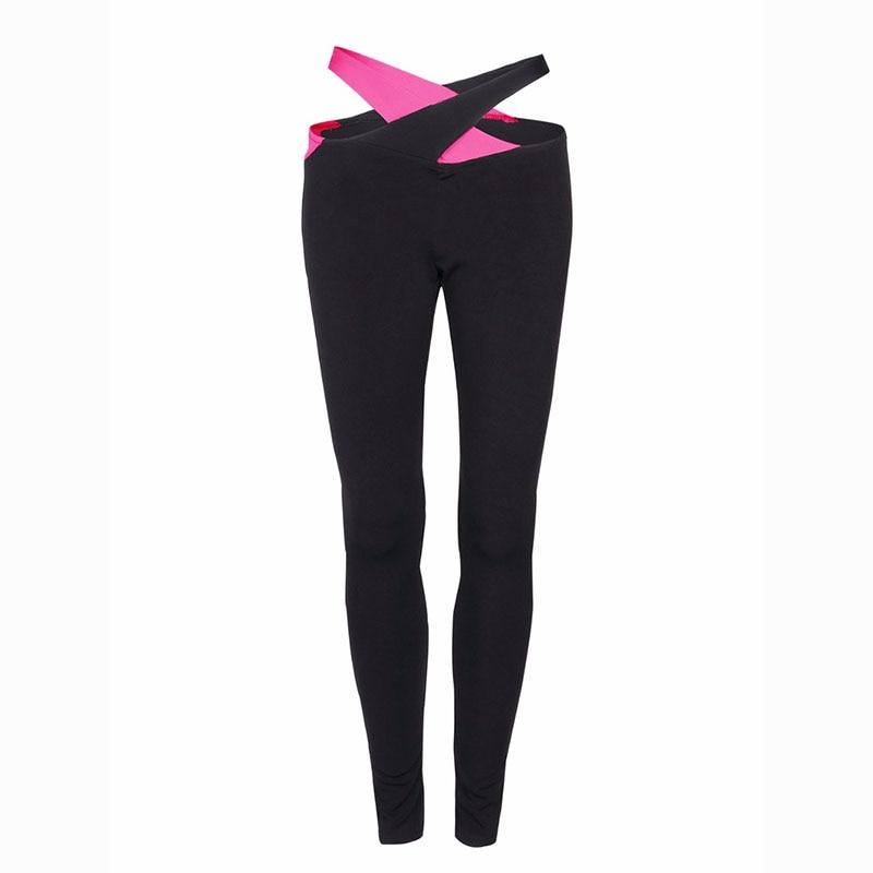 High Street Spring Yoga Women Fitness Leggings Cross Waist Workout Pencil Pants Leggins Elastic Cut Out Trousers Sportwear