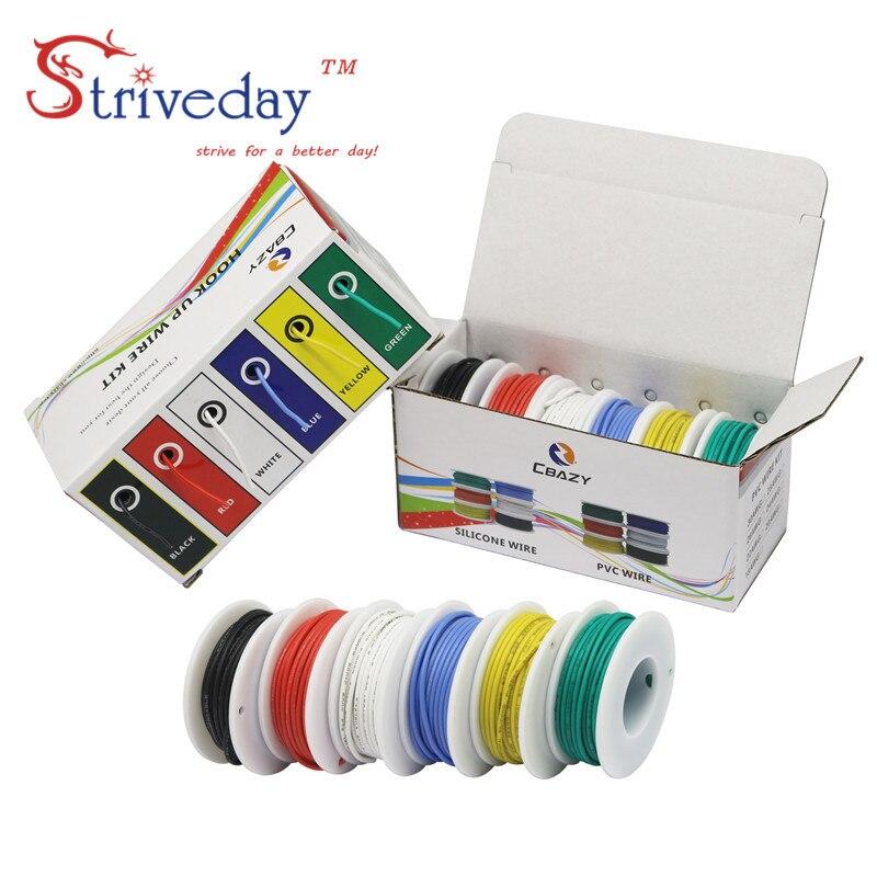 Cable Flexible de silicona 30/28/26/24/22/20/18awg 6 colores mezclados paquete cable eléctrico línea de cobre DIY