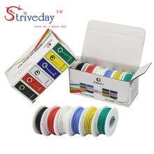 Cable Flexible de silicona, de 6 colores paquete mixto, Cable eléctrico de cobre, 30/28/26/24/22/20/18awg