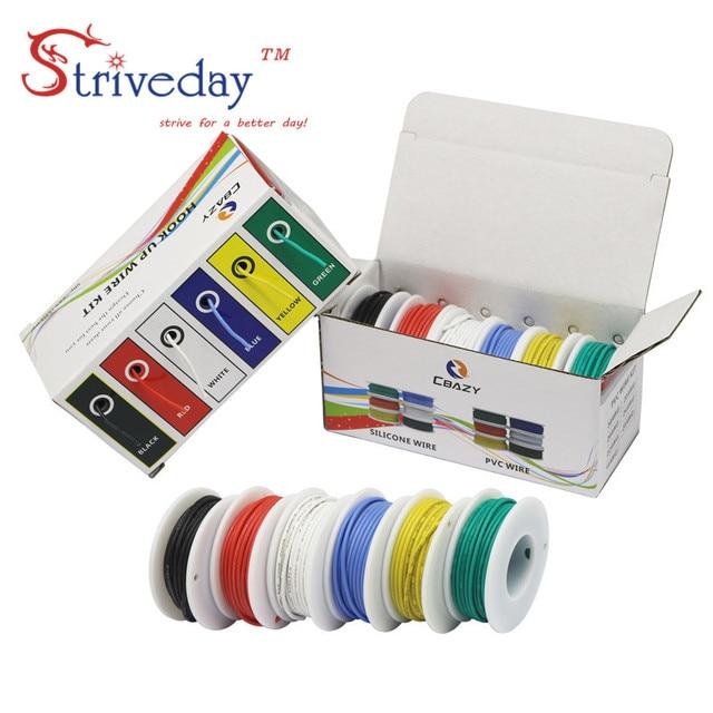Cabo de arame flexível kit de fio, arame de silicone flexível cobre 6 cores, 30/28/26/24/22/20/18awg pacote de linha de cobre elétrica diy