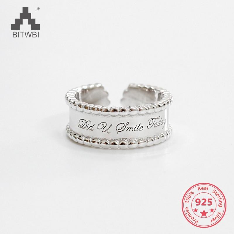 100% S925 Sterling Silber Mode Chic Einfache Runde Perle Breite Englisch Offenen Ring Angemessener Preis