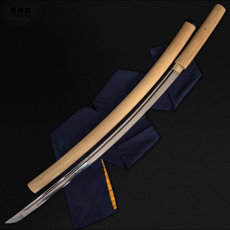 Full Tang Shirasaya Sword  Katana  Real Hamon Sharp Blade  Choji Hamon Blade Shirasaya Katana Bamboo Body Sharp