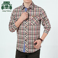 AFS JEEP Falow High Quality Men's Cotton Plaid Shirts,Green/Red Autumn Men's Casual Long Sleeve New Design Cargo Working Shirts