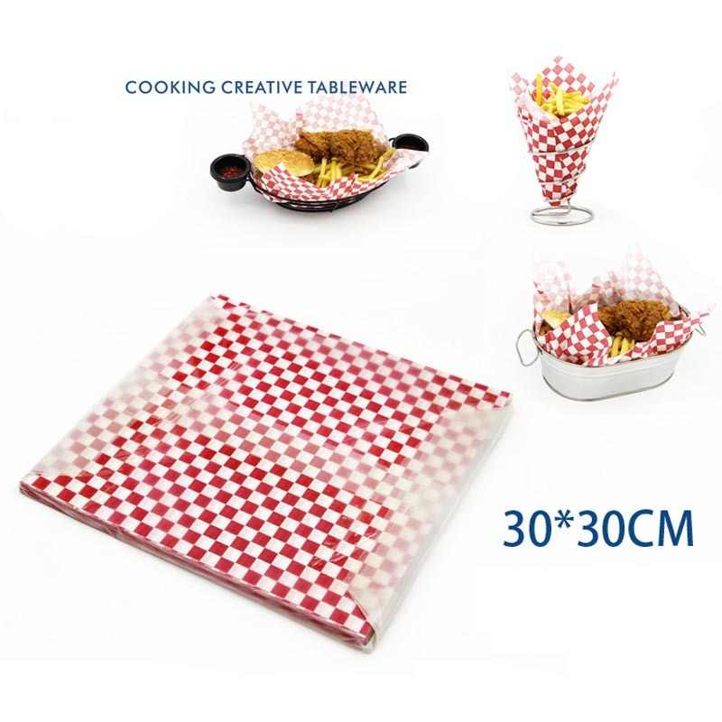 Food Grade Wax Coated Paper Wraping Oil-Absorbing Sheet French Fries Greaseproof Paper For Hot dog Fast Food 30*30cm