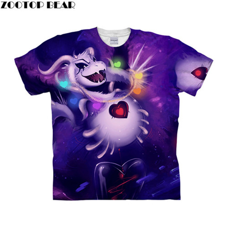 Undertale Animal 3D t shirt Travel Summer tshirt Men t-shirt TopTee Funny Short Sleeve Shirts Streetwear Dropship ZOOTOPBEAR New