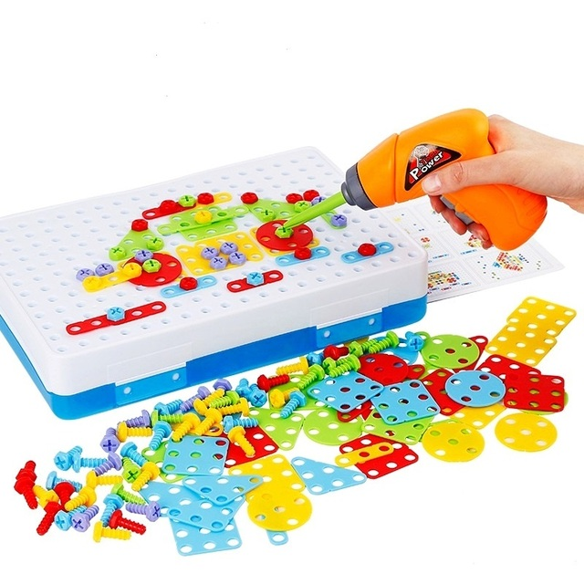 Children Drill Games Creative Mosaic Building Puzzle Set Intellectual Educational Toys Electric Screws Nuts Tools Kit for Boys