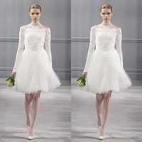 New Fashionable Short Tulle A Line Long Sleeve Wedding Dresses Romantic Above Knee Vestido Modest Beach Robe De Mariage