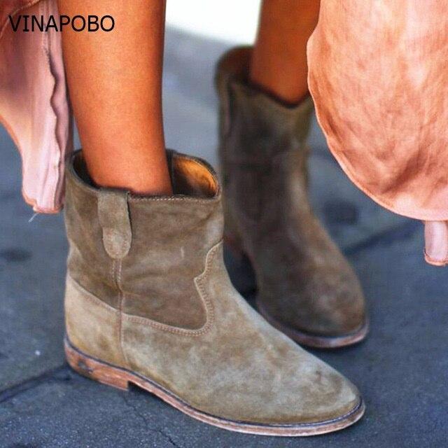 스웨이드 정품 가죽 여성 바이커 부츠 송아지 가죽 오토바이 신발 botines flats 여성 수제 레트로 카우보이 pleated ankle boots-에서앵클 부츠부터 신발 의  그룹 1