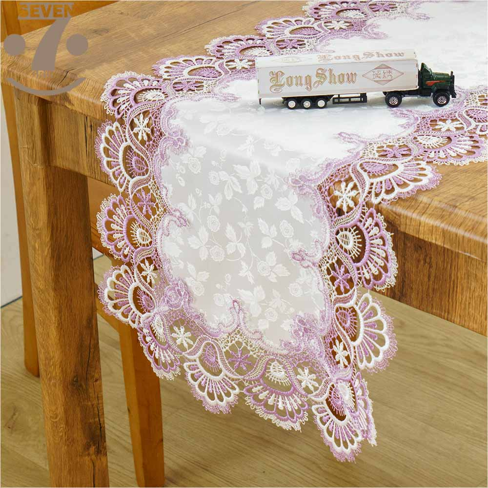 Free Shipping Creative Home Decorative Dining Banquet Birthday Festival Embroidered Two Tone Border jacquard Table Runner