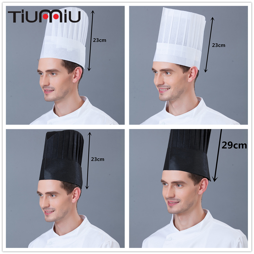 14 Pcs/lot Wholesale White One Time Chef Waiters Caps Adults Restaurant Hotel Bakery Canteen Sushi High Caps Chef Work Long Caps With The Most Up-To-Date Equipment And Techniques