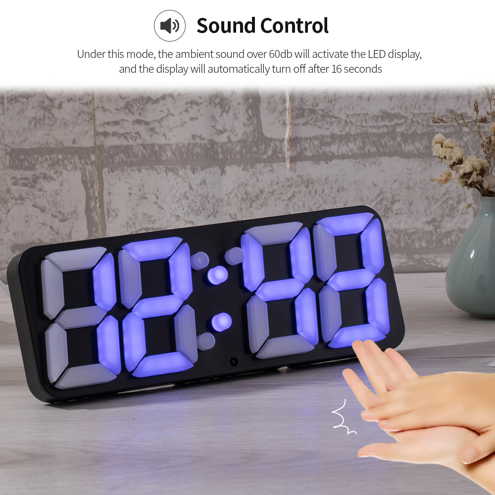 3D Wireless Remote RGB LED Digital Alarm Clock Thermometer Wall Clock USB  Powered Sound Control Color Changing Table Wall Clock