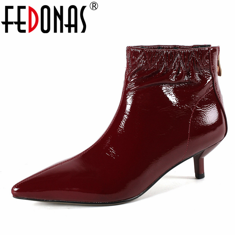 FEDONAS New Women Sexy Pointed Toe Ankle Boots Zipper Brand Autumn Winter Wedding Party Shoes Woman Ladies Fashion Short BootsFEDONAS New Women Sexy Pointed Toe Ankle Boots Zipper Brand Autumn Winter Wedding Party Shoes Woman Ladies Fashion Short Boots
