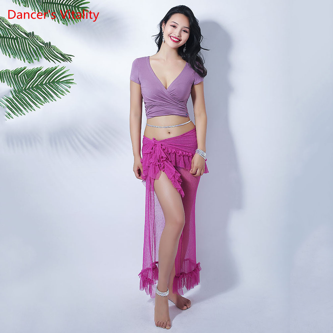 New belly dance V neck Design Lady s Fabric women Dance Costume short Sleeve Top irregular