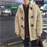 2018 Winter New Men's Fashion Personality Youth Casual Loose Wild Color Thick Section Warm Hooded Single Row Horn Buckle Coat