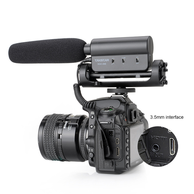 Takstar SGC-598 Photography Interview Lecture Conference Shotgun MIC Microphone for Nikon Canon DSLR Camera + 3 in 1 Gift Kit