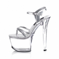 Small S Roman High Heeled Peep Toe Crystal Personality Waterproof Performance Shoes Sandals 17 Cm Dance