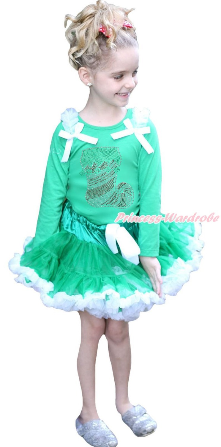 Rhinestone Socks Christmas Xmas Green Top White Pettiskirt Girls Outfit Set 1-8Y rhinestone my 1st christmas hat white top leopard minnie girls skirt outfit 1 8y