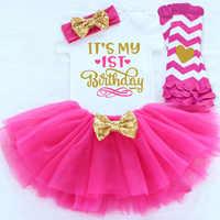 Oro 1 año bebé niña cumpleaños traje vestido para niña bebé niña bautizo tutú vestido niña pequeña ropa 12 meses