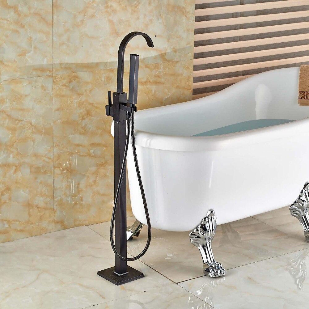 Free Standing Single Handle Bathtub Faucet Set Bathroom Tub Filler with Handshower Oil Rubbed Bronze