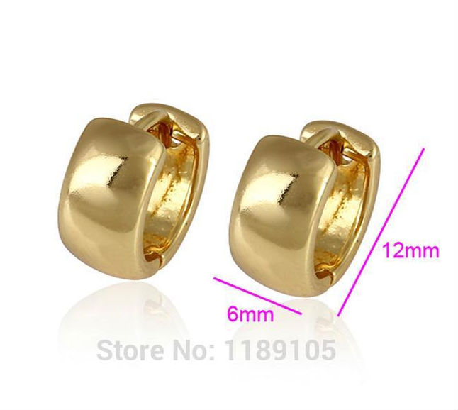 24k Plain Yellow Gold Filled Gf Small Solid Smooth Hoop Huggie