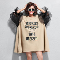 F&je Summer New Fashion gauze Hollow Out Lantern Sleeve Loose Big Size Women Dresses Top Quality Casual Knee length Dress T6228