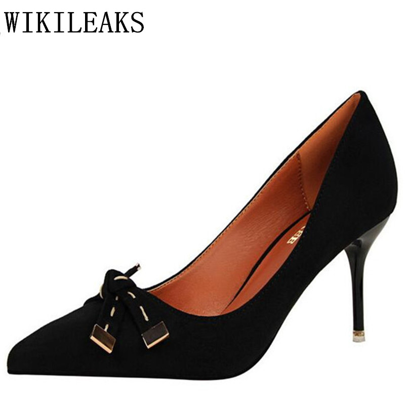 designer women elegant shoes Butterfly-knot high heels shoes woman zapatos mujer tacon sexy pumps Faux Suede wedding shoes women real women pumps thin high heels ladies party shoes slip on butterfly knot cheap modest zapatos mujer sorbern wedding shoes sexy