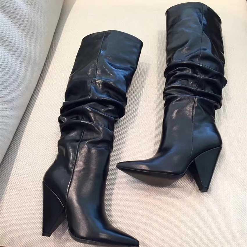 2019 ผู้หญิงกว่าเข่ารองเท้าหนังเซ็กซี่ต้นขารองเท้าบูทสูงส้นรองเท้าผู้หญิงฤดูหนาว Warm รถจักรยานยนต์
