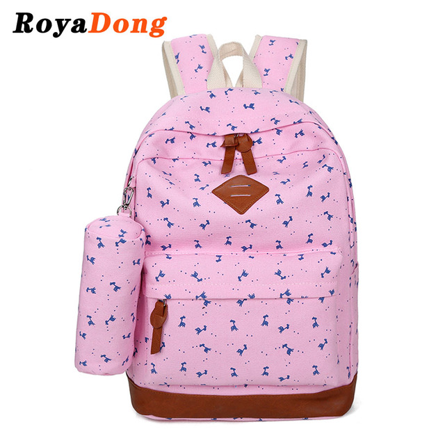 RoyaDong 2017 Spring New School Backpack Set Canvas Animals Printing Candy Color School Bag For Teenage Girls