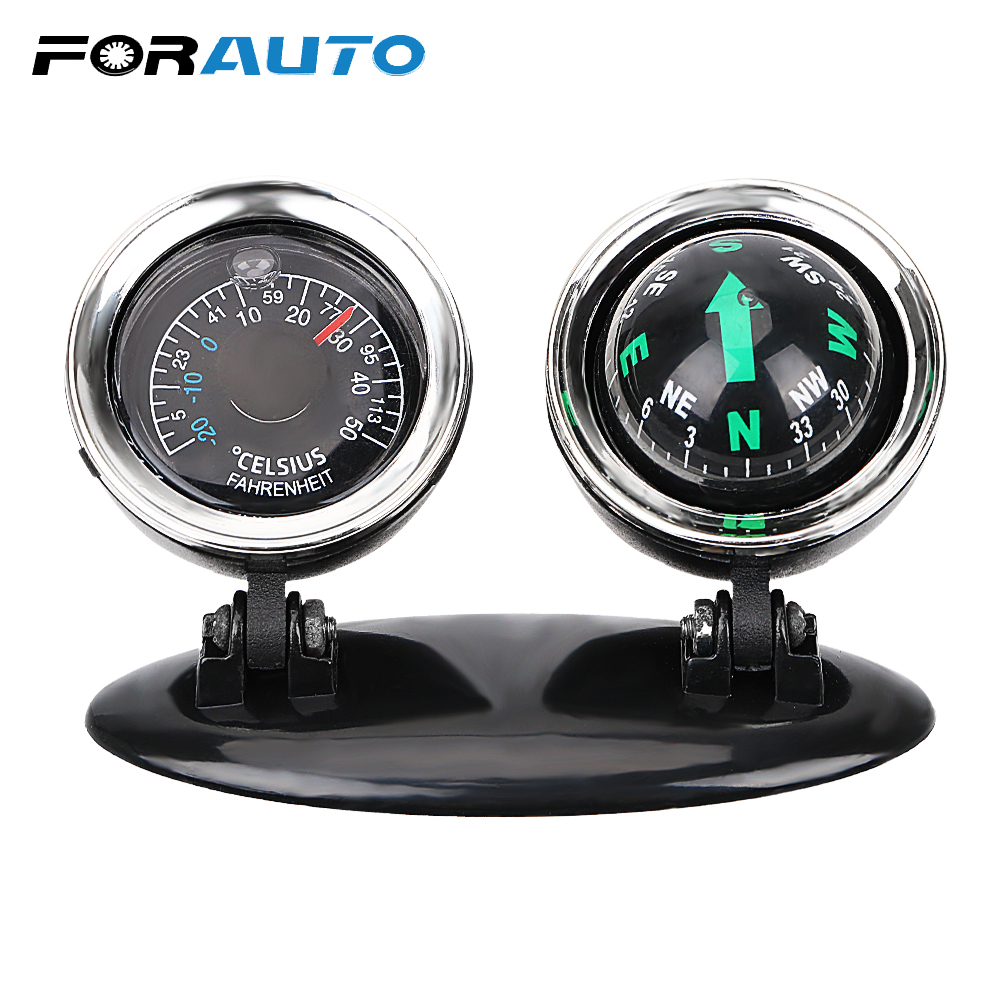 Direction Dashboard Ball 2 in 1 Car Ornaments Guide Ball Compass Thermometer Vehicle Automotive Accessories Car-styling